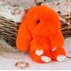 Распродажа!!! Меховой брелок заяц. Оранжевый. 13-16 см.